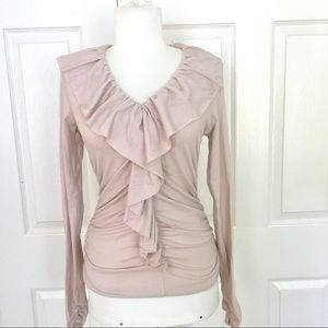 CAbi Cream Ruched Long Sleeve Ruffled Fitted Top